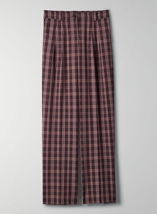 IRIS PANT - Pleated plaid trouser