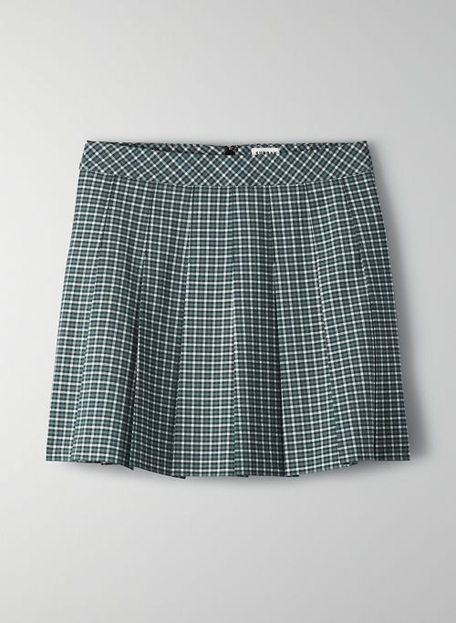 OLIVE SKIRT - Pleated, plaid mini skirt