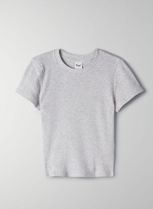 CROPPED RIB T-SHIRT - Cropped, ribbed t-shirt