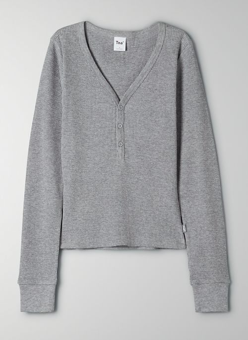 THERMAL HENLEY - Waffle-knit henley