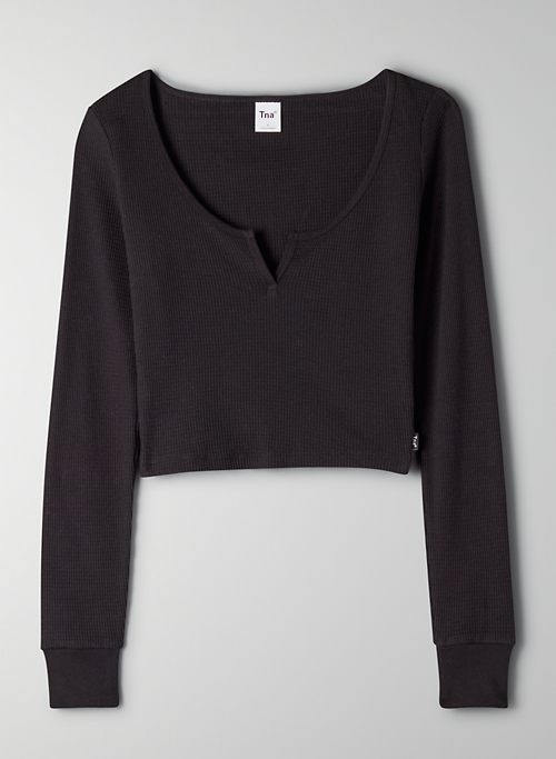 THERMAL SCOOPNECK - Cozy thermal cropped longsleeve
