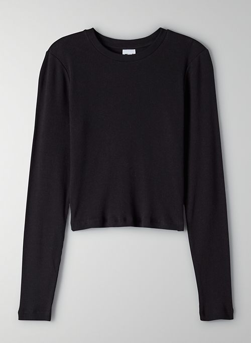 RIBBED CROPPED LONGSLEEVE - Cropped, ribbed long-sleeve crewneck