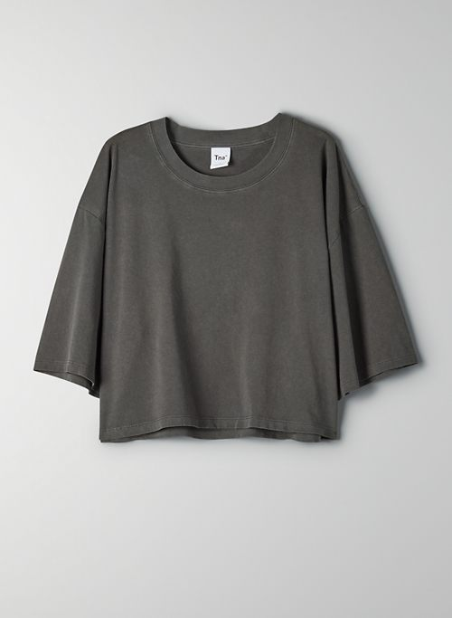 TOUR CROPPED T-SHIRT - Oversized cropped crew-neck t-shirt