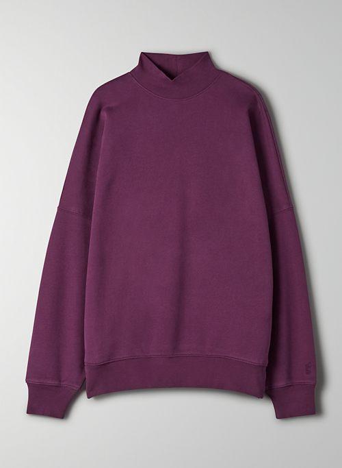 COZY FLEECE BOYFRIEND MOCK SWEATSHIRT - Oversized mockneck sweatshirt