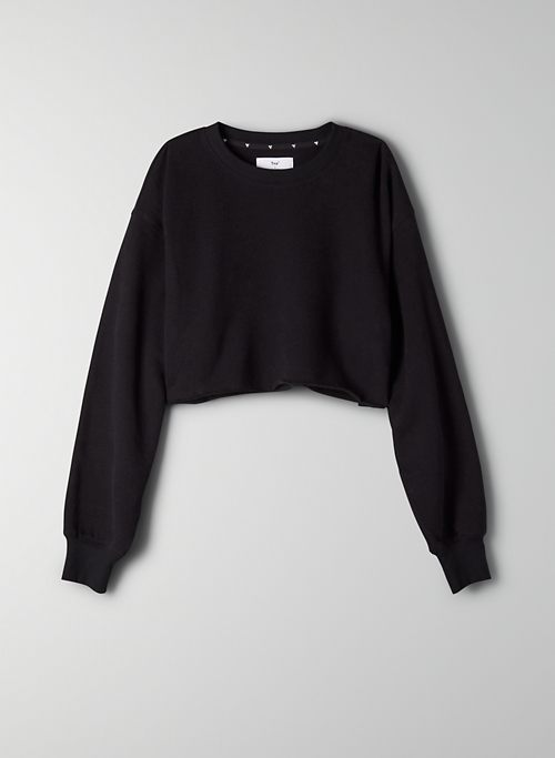 COZY FLEECE BOYFRIEND CROPPED SWEATSHIRT - Cropped crew-neck sweatshirt