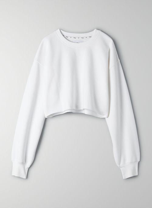 COZY FLEECE BOYFRIEND CROPPED SWEATSHIRT - Cropped, crew-neck sweatshirt