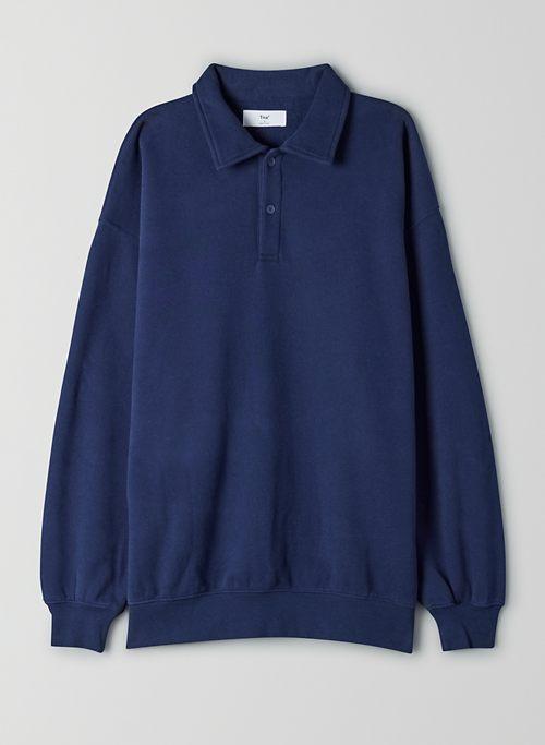 COZY FLEECE BOYFRIEND POLO SWEATSHIRT - Oversized polo sweatshirt