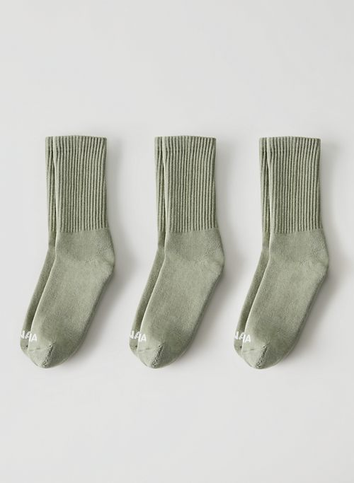 BASE CREW SOCK 3-PACK - Ribbed cotton crew sock, three pack