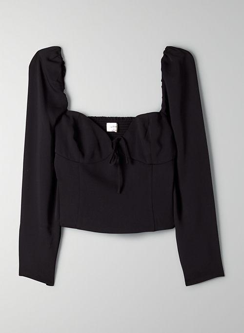 NOVELLA BLOUSE - Puff-sleeve smocked prairie blouse