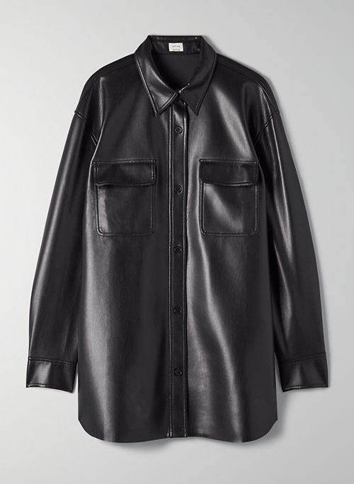 BELEK BUTTON-UP - Button-up vegan leather blouse