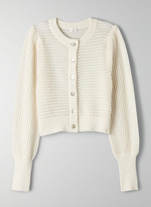 ALESSIA CARDIGAN - Cropped, puff-sleeve knit cardigan