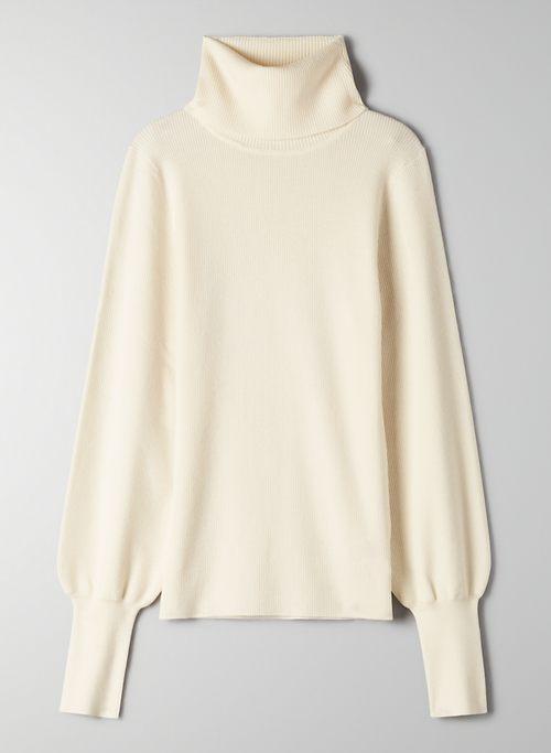 POSITANO TURTLENECK - Ribbed turtleneck sweater with lantern sleeves