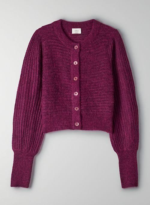ALESSIA CARDIGAN - Cropped, puff-sleeve knit cardigan