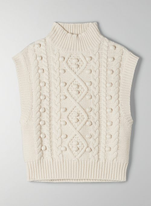 ALPS SWEATER VEST - Mock-neck, cable-knit sweater vest