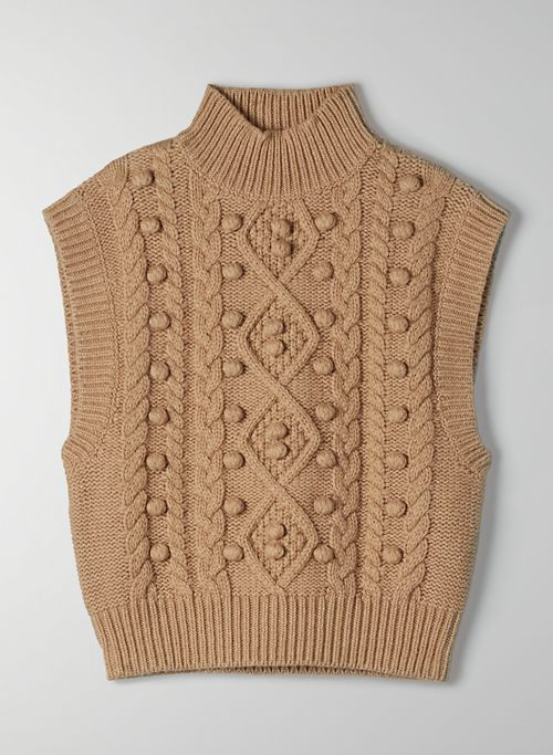 ALPS SWEATER VEST - Mock-neck, cable-knit sweater vest