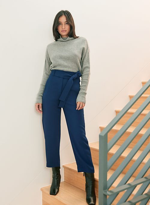 TIE-FRONT PANT - High-waisted, belted pant