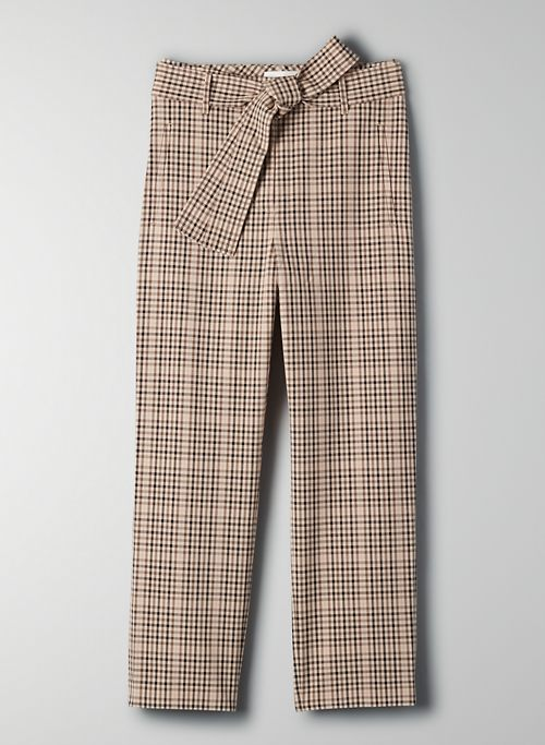 NEW TIE-FRONT PANT - Cropped checkered high-waisted pants