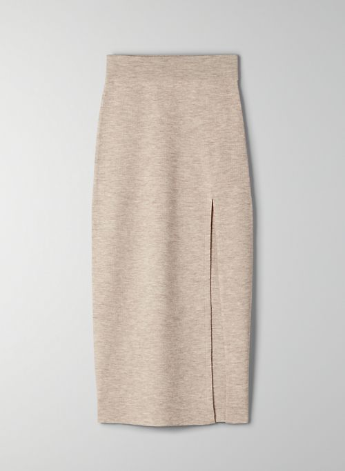 NEW KNIT SLIT SKIRT - Ribbed merino wool skirt