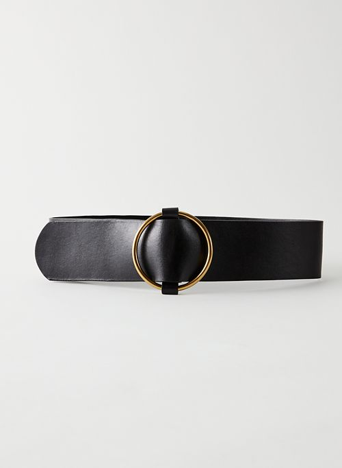 CLASSIC RING WAIST BELT - Wide leather waist belt