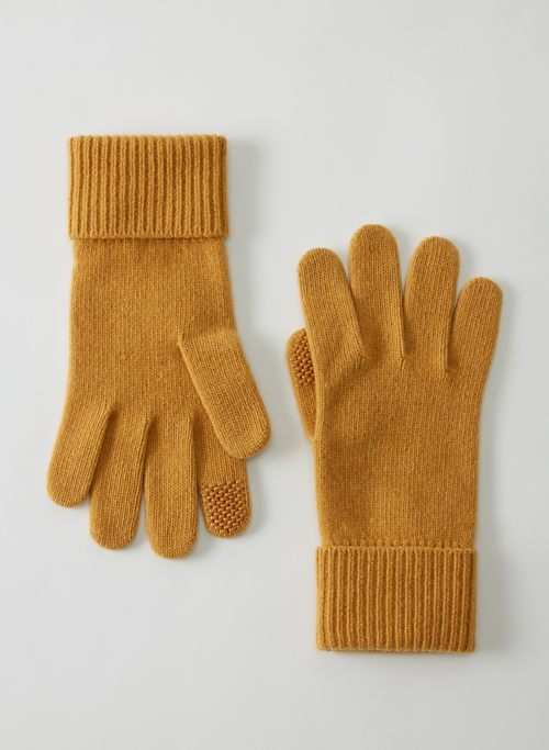 CASHMERE CUFFED GLOVES - Tech-friendly cashmere gloves