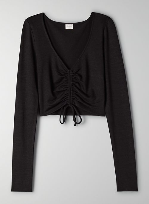 LYNX LONGSLEEVE - Ruched tie-front cropped t-shirt