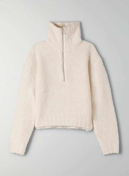 GWYNETH SWEATER - Cropped quarter-zip knit sweater