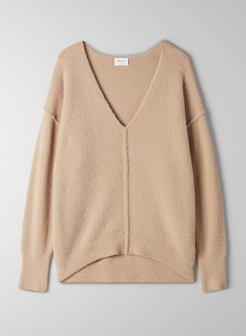 RELAXED V-NECK SWEATER - Slouchy chenille sweater