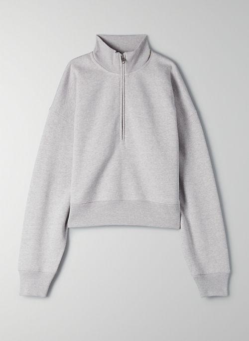 FREE FLEECE 1/2 ZIP SWEATSHIRT - Cropped half zip sweatshirt
