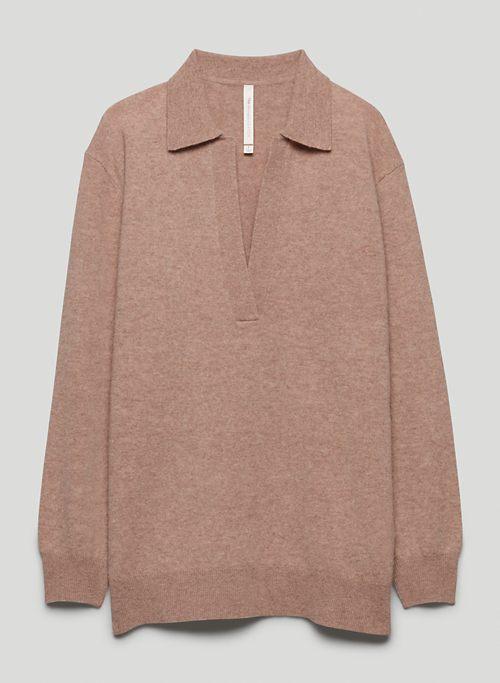 CIRCUIT SWEATER - Open V-neck, merino wool polo sweater
