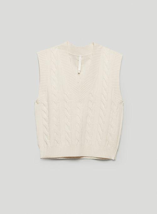 ILLUSTRATOR VEST - V-neck, cable-knit sweater vest