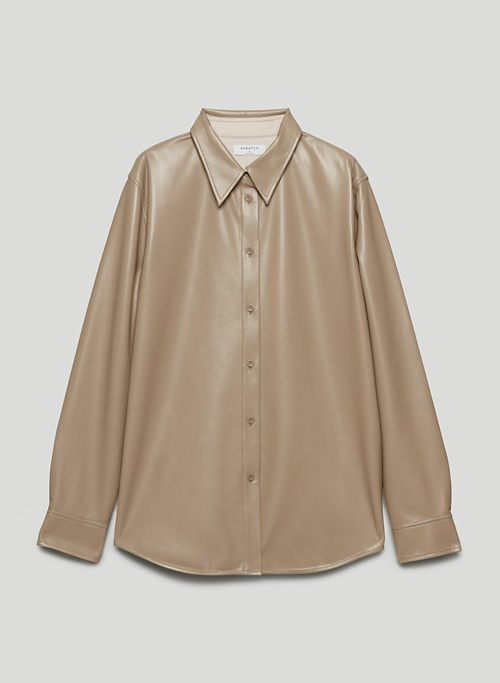 NOUVELLE BUTTON-UP - Vegan Leather blouse