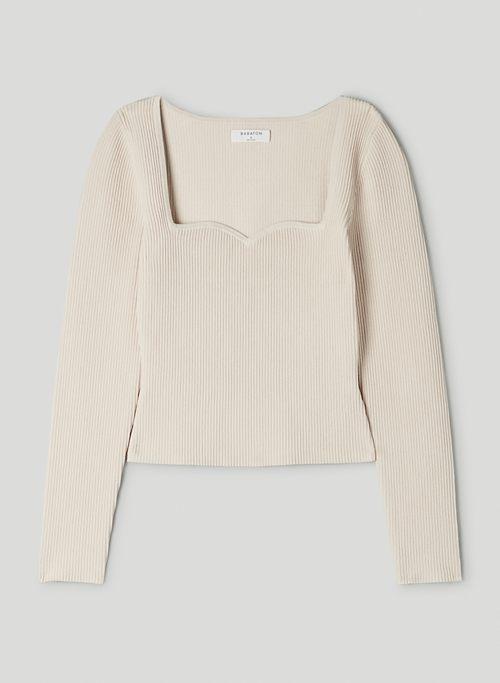 SCULPT KNIT LONGSLEEVE - Ribbed sweetheart, long-sleeve shirt