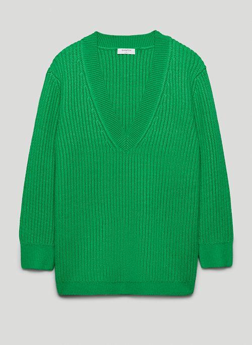 ROGER SWEATER - Long, V-neck merino wool sweater