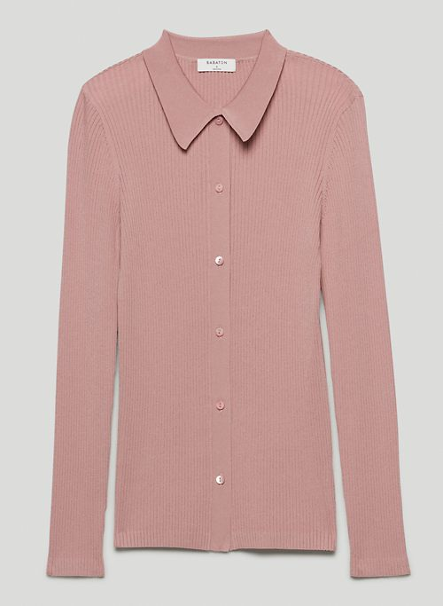 FINLEY SWEATER - Ribbed, button-up cardigan