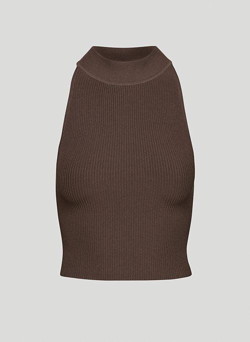 SCULPT KNIT HALTER TOP - Cropped rib-knit halter top