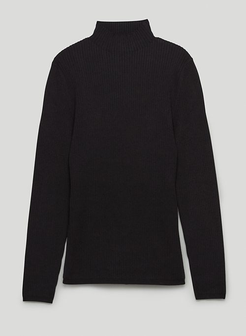 AMBROSIA SCULPT KNIT SWEATER - Ribbed long-sleeve, mock-neck shirt