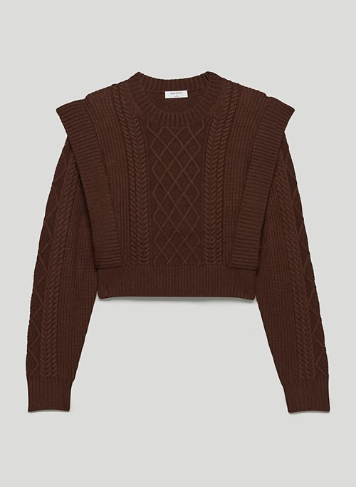 SEEK SWEATER - Cable-knit shoulder pad sweater