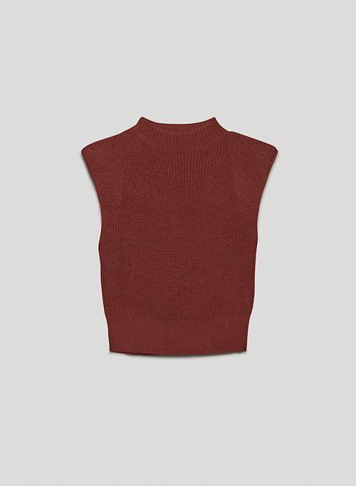 HAZLITT VEST - Mock-neck sweater vest with shoulder pads