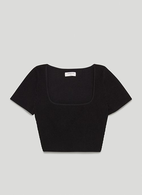 ADELAIDE SCULPT KNIT TOP - Ribbed knit, square-neck crop top