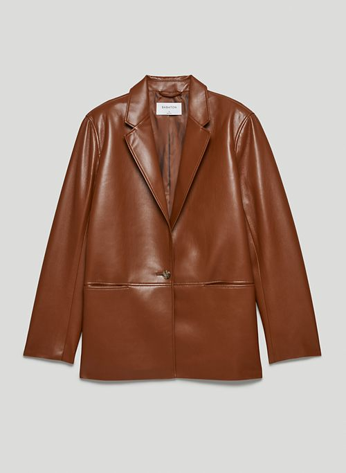 LOGAN BLAZER - Single-breasted Vegan Leather blazer