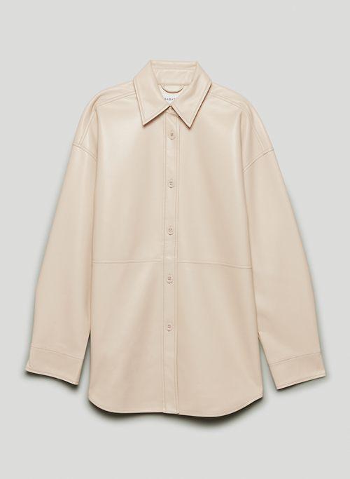 PELLI SHIRT JACKET - Long button-up Vegan Leather shacket