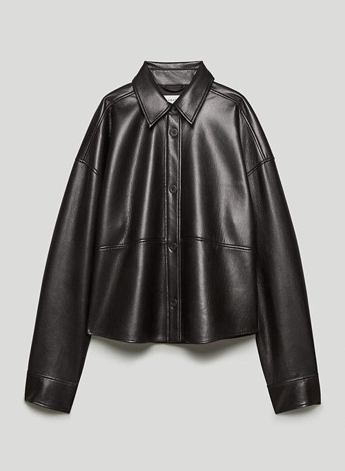 PELLI CROPPED SHIRT JACKET - Vegan Leather shacket