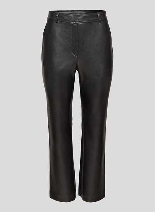 FRANKIE PANT - Mid-rise Vegan Leather kick-flare pants