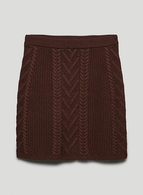 EMPORIA SKIRT - High-waisted cable-knit mini skirt