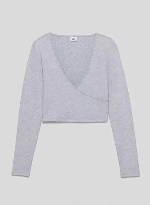 ESMERELDA LONGSLEEVE - Cropped cross-front, long-sleeve shirt