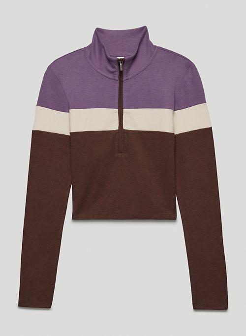 HALF-ZIP LONGSLEEVE - Ribbed half-zip, long-sleeve shirt