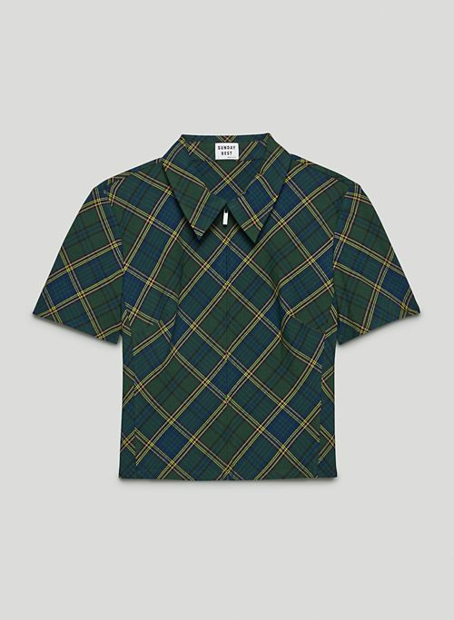 ALICE BLOUSE - Plaid, collared zip-up blouse