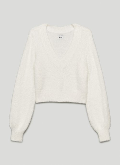KITTEN V-NECK SWEATER - V-neck fuzzy knit sweater
