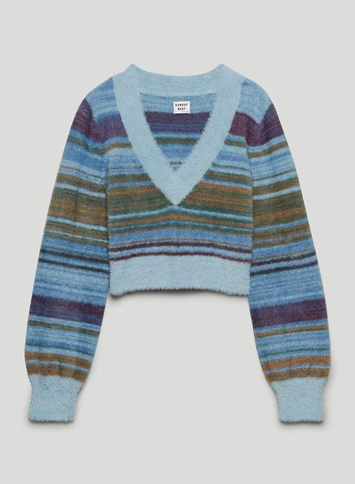 KITTEN V-NECK SWEATER - Fuzzy v-neck sweater