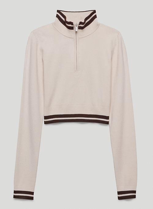 ONYX SWEATER - Cropped, 1/4-zip mock-neck sweater